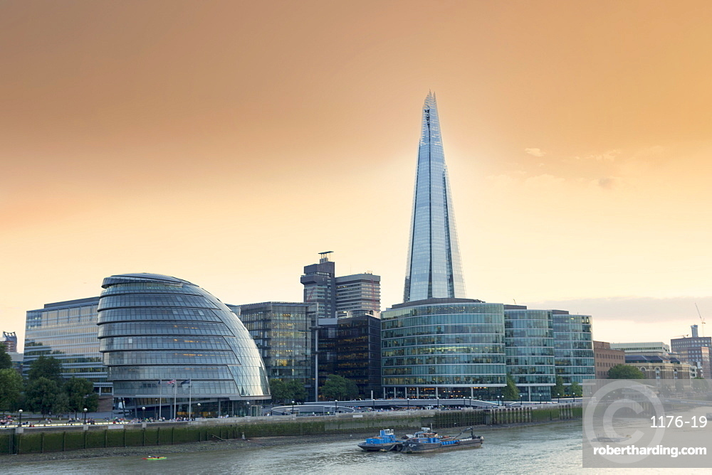 View of City Hall and the Shard on the south bank of the River Thames, London, England, United Kingdom, Europe