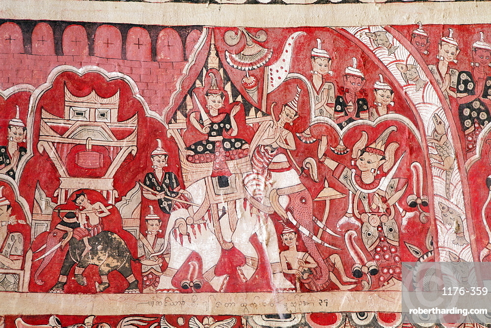 Pho Win Hill, cave with mural paintings of geometric patterns and Jataka stories dating from 14th to 18th centuries, Monywa, Sagaing, Myanmar (Burma), Southeast Asia