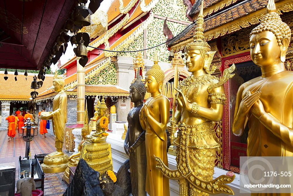 Gold Buddhas at Doi Suthep temple, Chiang Mai, Thailand, Southeast Asia, Asia