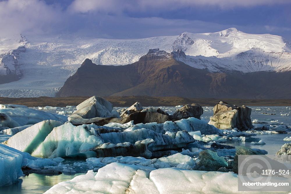 Icebergs in the Jokulsarlon glacial lake in Vatnajokull National Park in southeast Iceland, Polar Regions