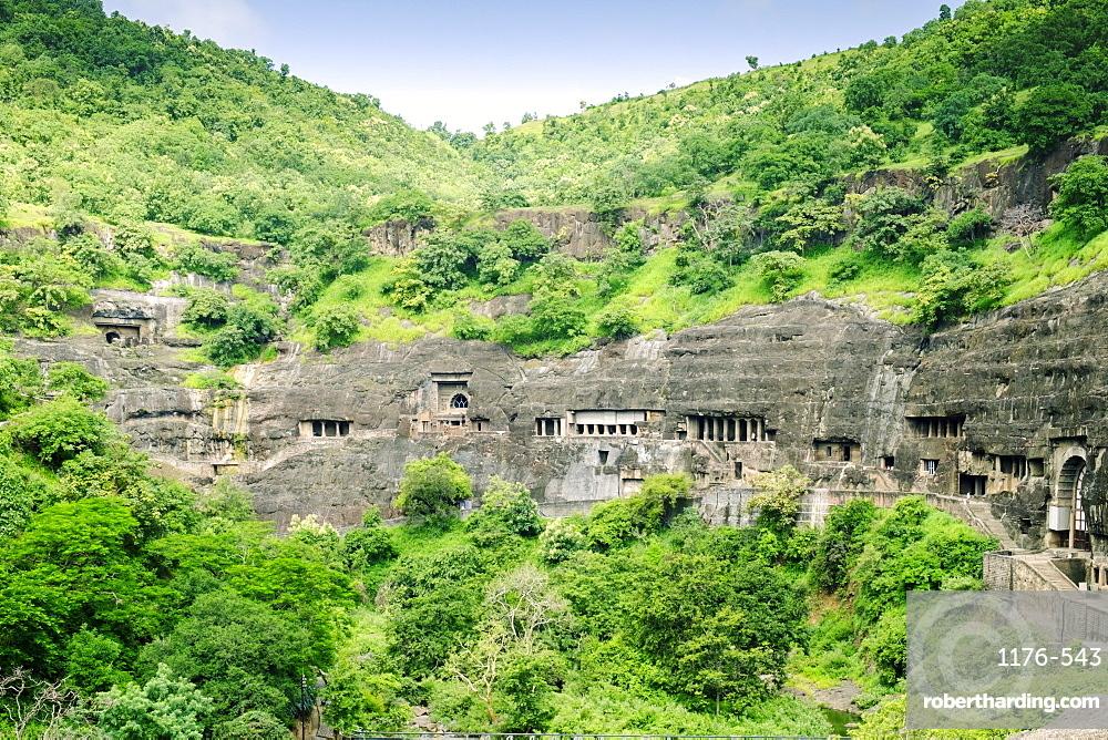 General view of the Ajanta Caves, UNESCO World Heritage Site, Maharashtra, India, Asia