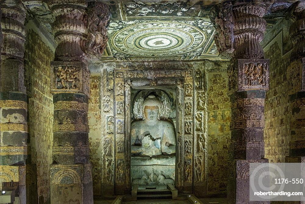 Buddha statue in the Ajanta Caves, UNESCO World Heritage Site, Maharashtra, India, Asia