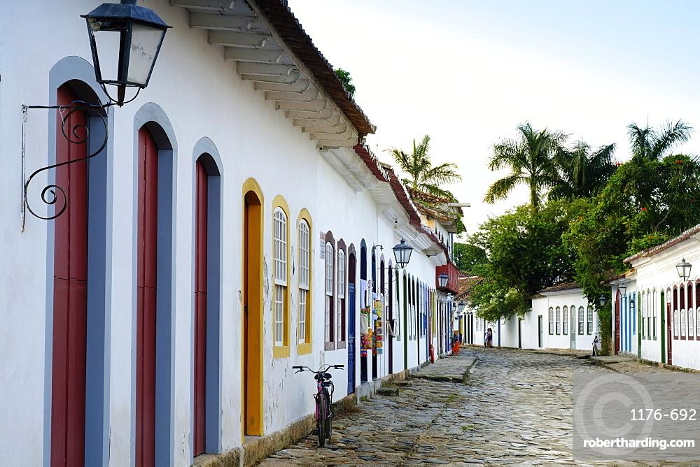 Portuguese colonial vernacular architecture in the centre of Paraty (Parati) town on Brazil's Green Coast, Rio de Janeiro state, Brazil, South America