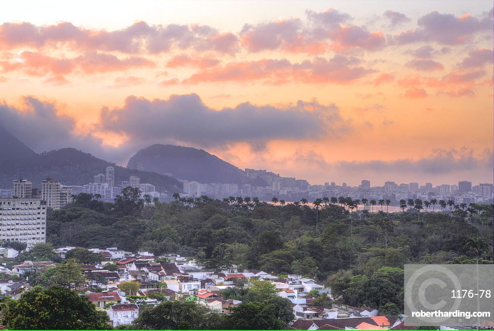 View of Rodrigo de Freitas lagoon and the Botanical Gardens district at dawn, Rio de Janeiro, Brazil, South America