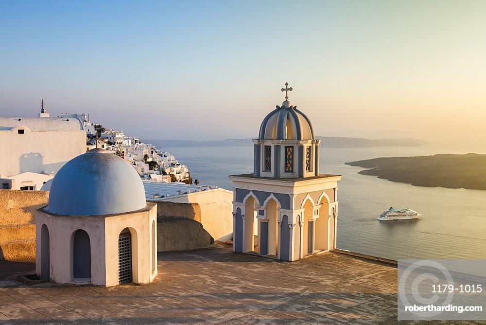 The blue domes of the churches dominate the Aegean Sea, Firostefani, Santorini, Cyclades, Greek Islands, Greece, Europe