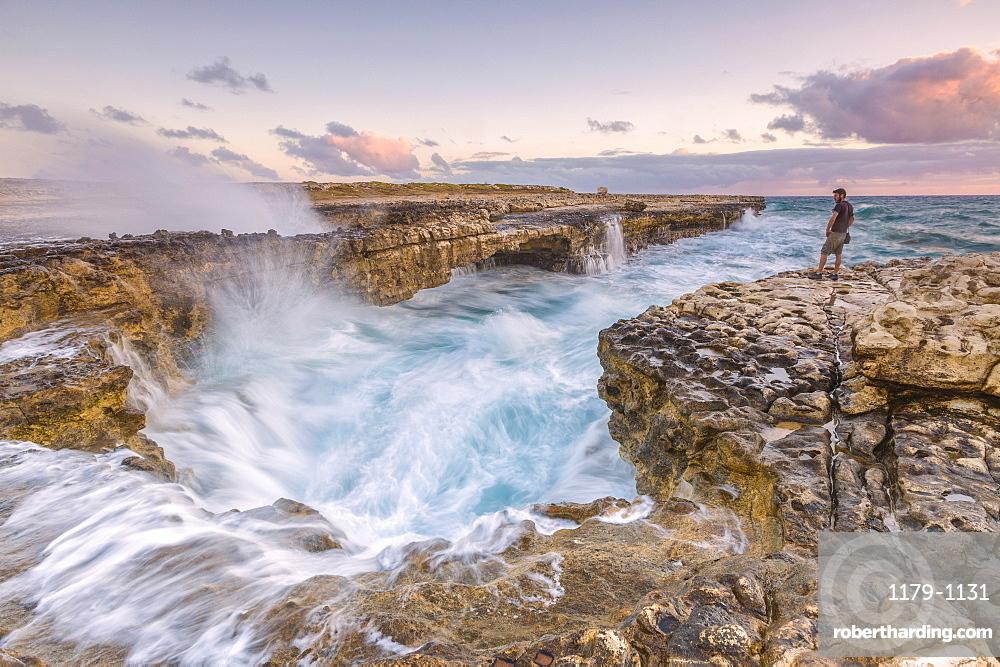 Hiker on the cliffs admires the crashing waves at Devil's Bridge, Antigua, Antigua and Barbuda, Leeward Islands, West Indies, Caribbean, Central America