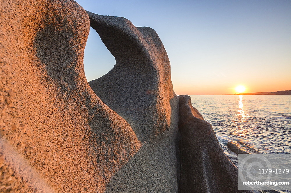 Sunset on the unusual shaped cliffs and blue sea, Capo Testa, Santa Teresa di Gallura, Province of Sassari, Sardinia, Italy, Mediterranean, Europe