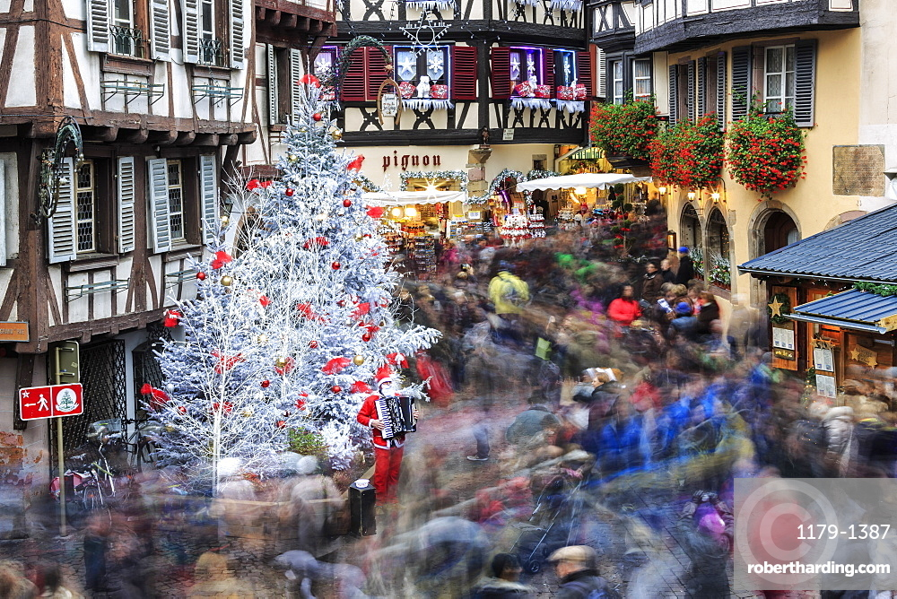 Christmas tree and Santa Claus in the pedestrian roads of the old town, Colmar, Haut-Rhin department, Alsace, France, Europe