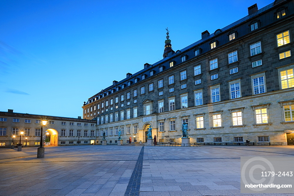Christiansborg Palace at night, Copenhagen, Denmark, Europe
