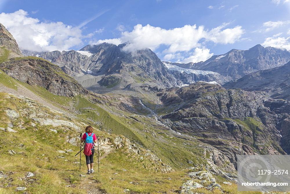 Hiker on path Sentiero Glaciologico with Fellaria Glacier in the background, Malenco Valley, Valtellina, Lombardy, Italy, Europe
