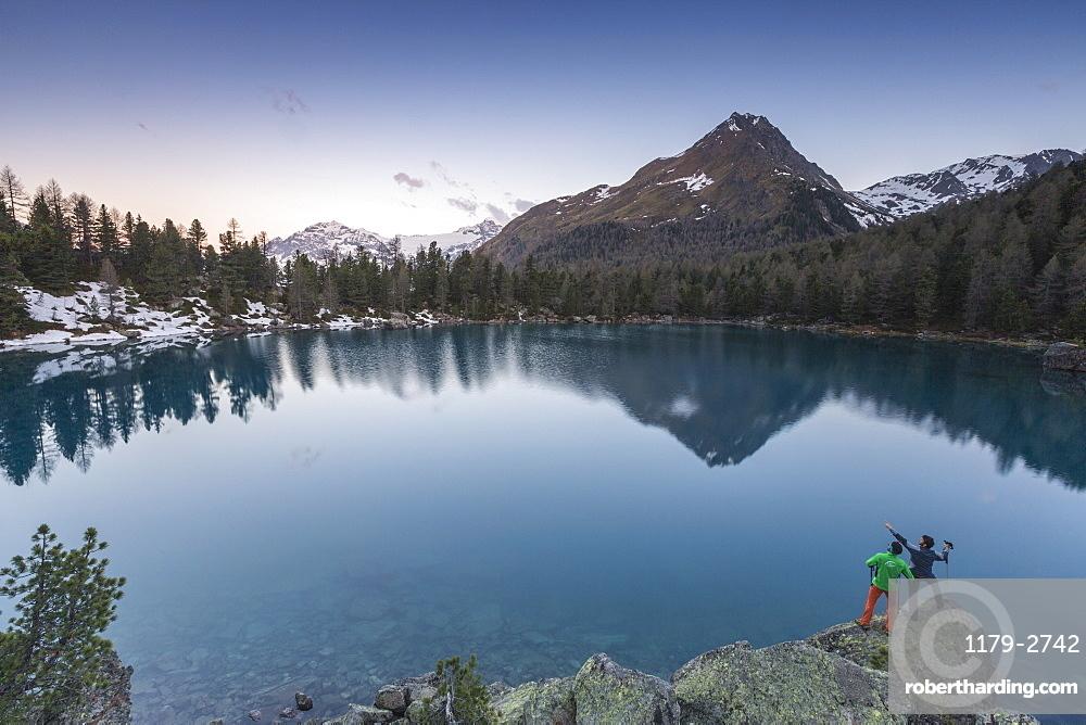 Lago di Saoseo and Corn Da Murasciola at sunrise, Val di Campo, Poschiavo region, Canton of Graubunden, Switzerland, Europe