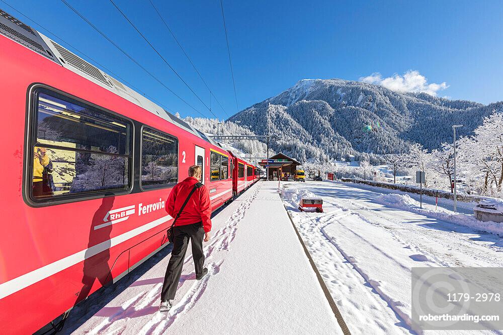 Bernina Express train at Filisur station, Albula Valley, Canton of Graubunden, Switzerland, Europe