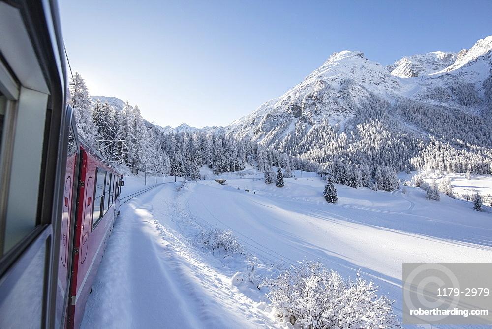 Bernina Express train, Preda Bergun, Albula Valley, Canton of Graubunden, Switzerland, Europe