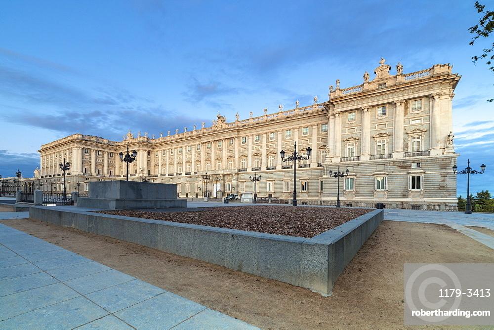 Royal Palace of Madrid (Palacio Real de Madrid) seen from Plaza de Oriente, Madrid, Spain, Europe