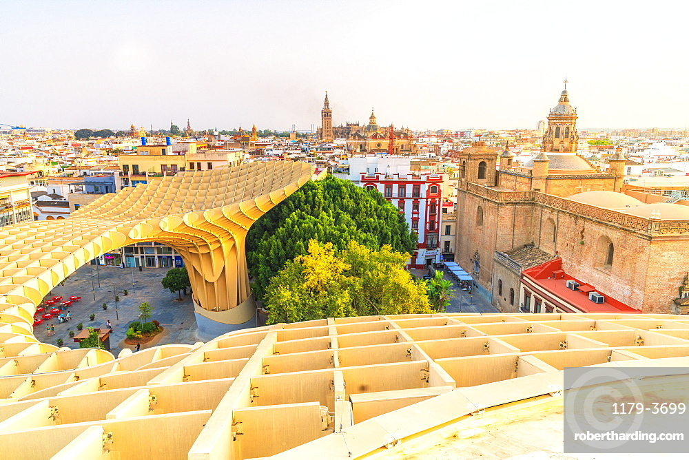 Church of the Annunciation, La Giralda and Seville skyline from Metropol Parasol, Plaza de la Encarnacion, Andalusia, Spain, Europe