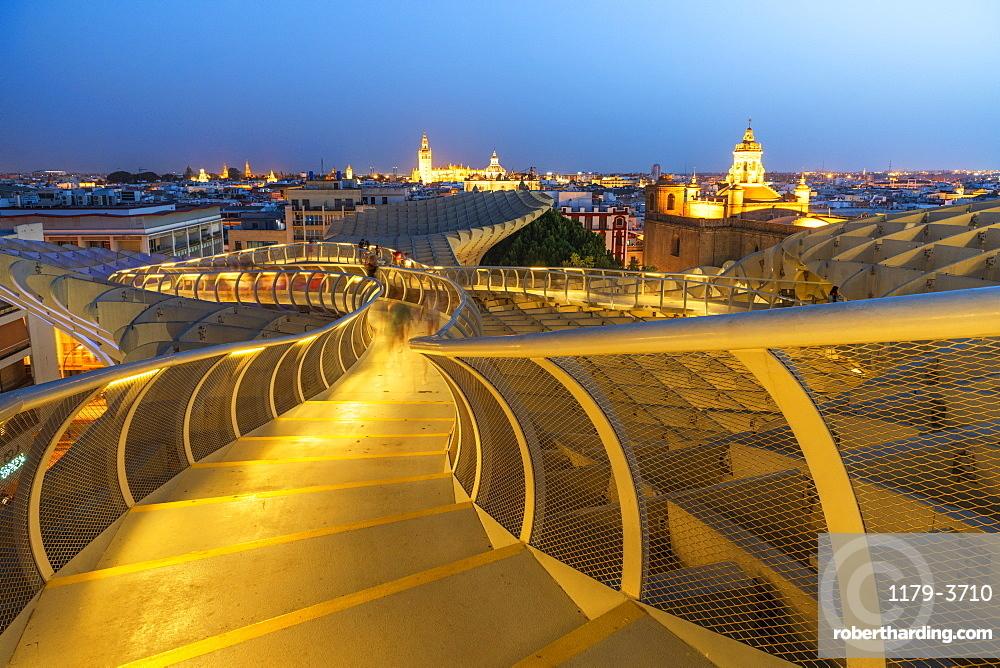 Illuminated spiral shape walkways on rooftop of the Metropol Parasol, Plaza de la Encarnacion, Seville, Andalusia, Spain, Europe