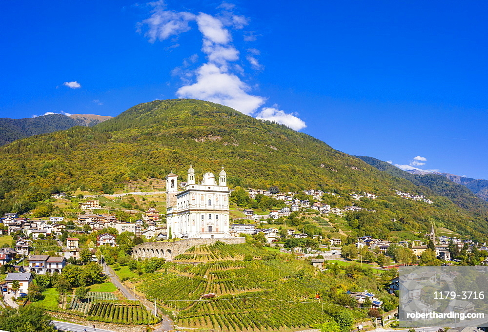 Panoramic of terraced vineyards and sanctuary Santa Casa di Loreto, Tresivio, Sondrio province, Valtellina, Lombardy, Italy, Europe