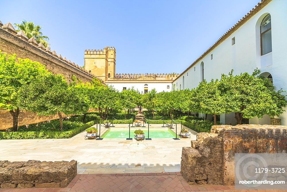 Orange trees and pool in the ancient courtyard Patio Morisco, Alcazar de los Reyes Cristianos, Cordoba, UNESCO World Heritage Site, Andalusia, Spain, Europe
