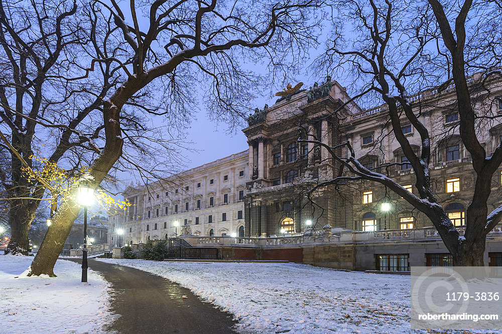 Hofburg palace surrounded by gardens covered with snow, Burggarten, Vienna, Austria, Europe