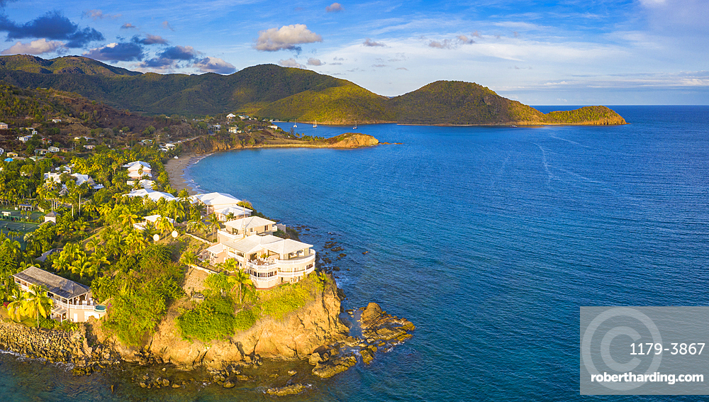Aerial panoramic by drone of the Curtain Bluff resort overlooking the Caribbean Sea, Old Road, Antigua and Barbuda, Leeward Islands, West Indies, Caribbean, Central America