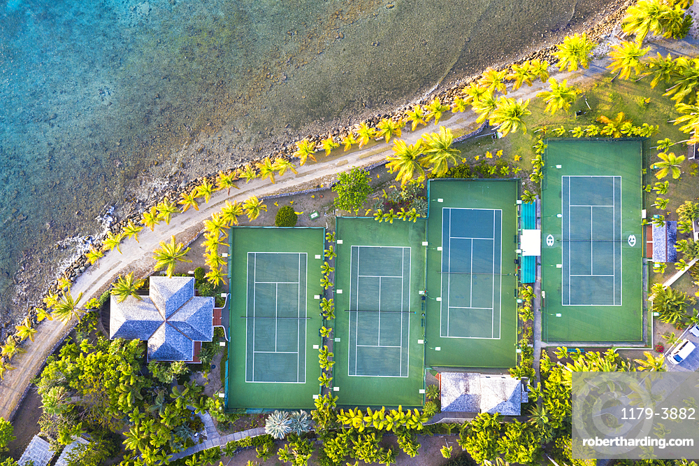 Tennis courts and palm trees in the luxury Curtain Bluff resort viewed from above, Old Road, Antigua, Leeward Islands, West Indies, Caribbean, Central America