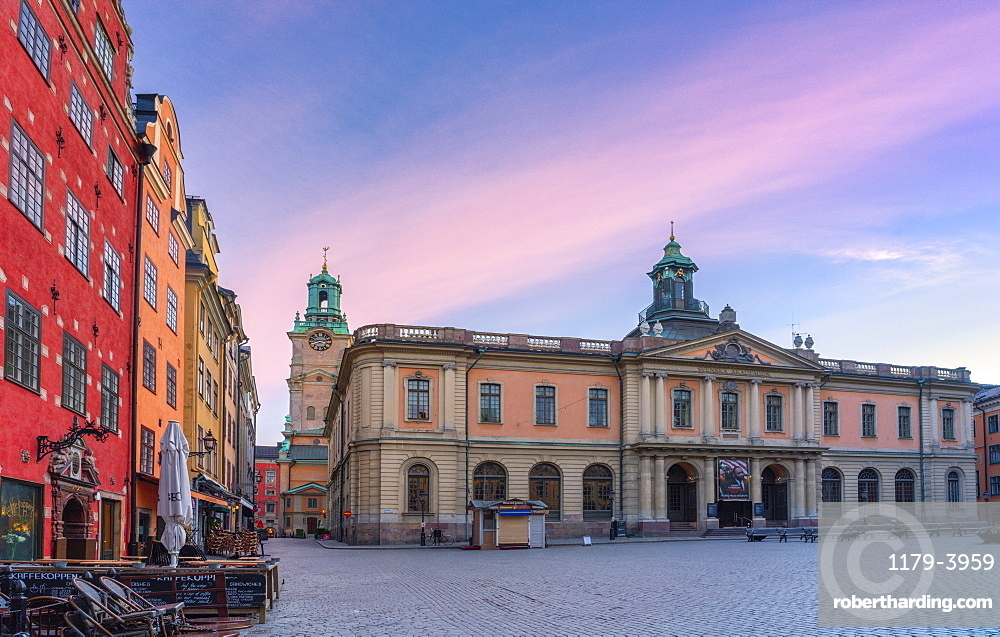 Sunrise over the Stock Exchange Building, today's Nobel Museum, Stortorget Square, Gamla Stan, Stockholm, Sweden