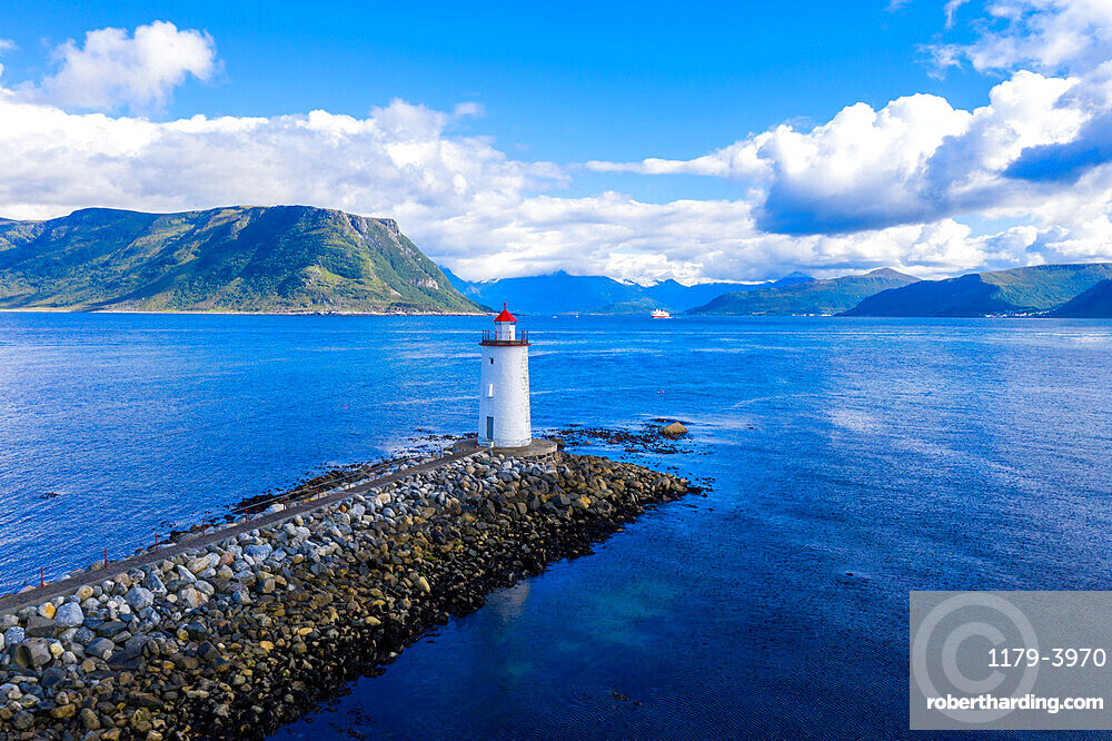 Aerial view of Hogsteinen Lighthouse, Godoya Island, Alesund, More og Romsdal County, Norway (drone)