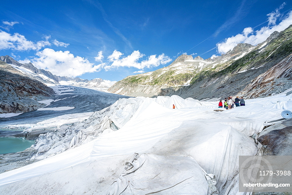 Rhone Glacier covered with white blankets to prevent extreme melting due to climate change, Gletsch, Canton of Valais, Switzerland