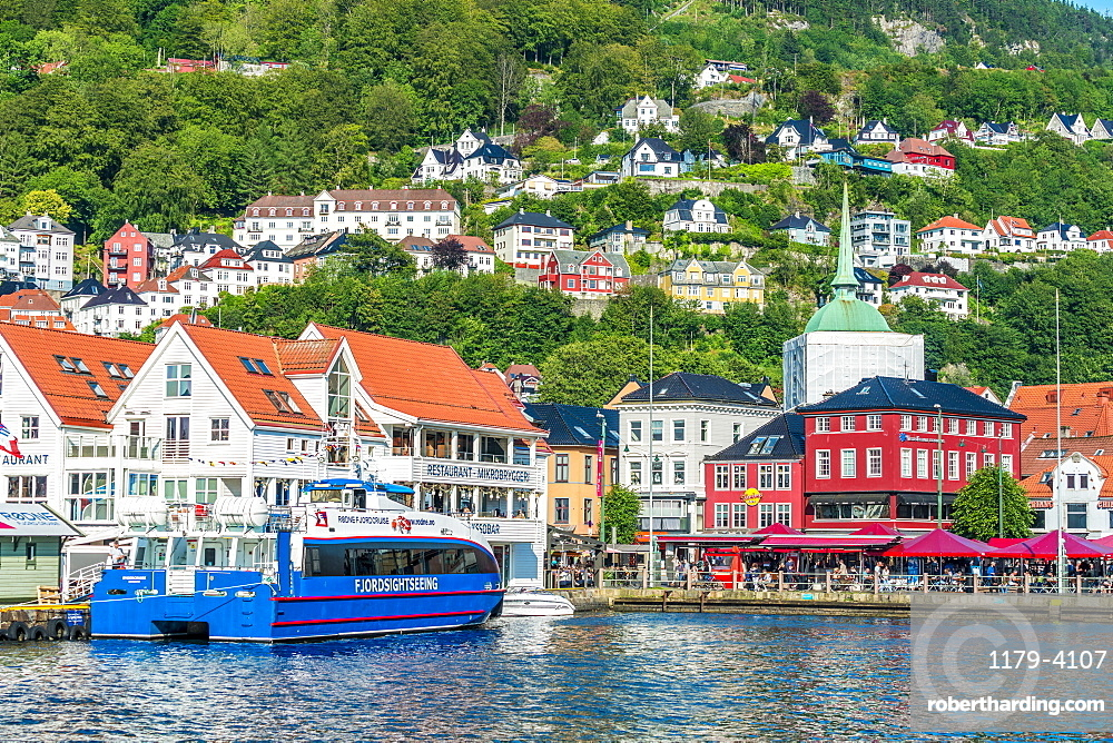 Tourist ferry moored in the harbour in the city centre of Bergen, Hordaland County, Western Fjords region, Norway, Scandinavia, Europe
