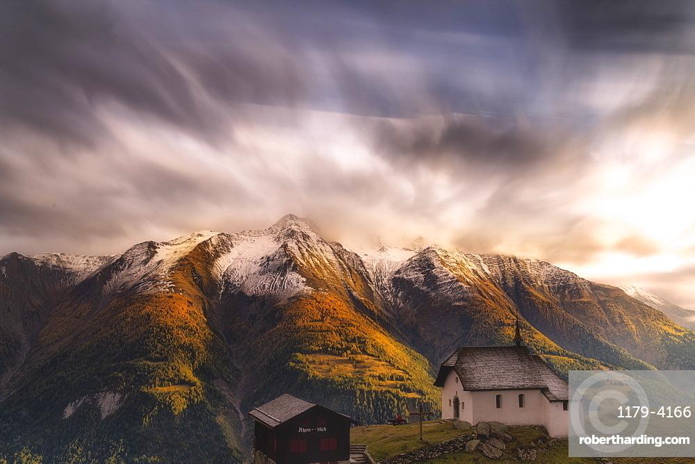 Fairy tale landscape during the autumn sunset over Bettmeralp, canton of Valais, Swiss Alps, Switzerland, Europe