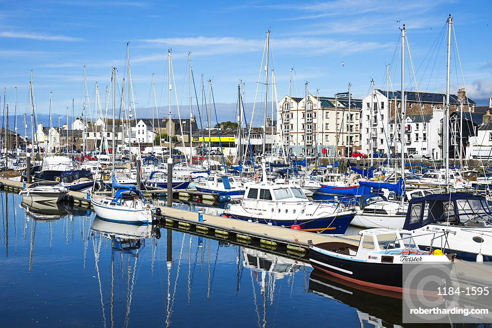 The town of Peel with its picturesque harbour, Peel, Isle of Man, United Kingdom, Europe