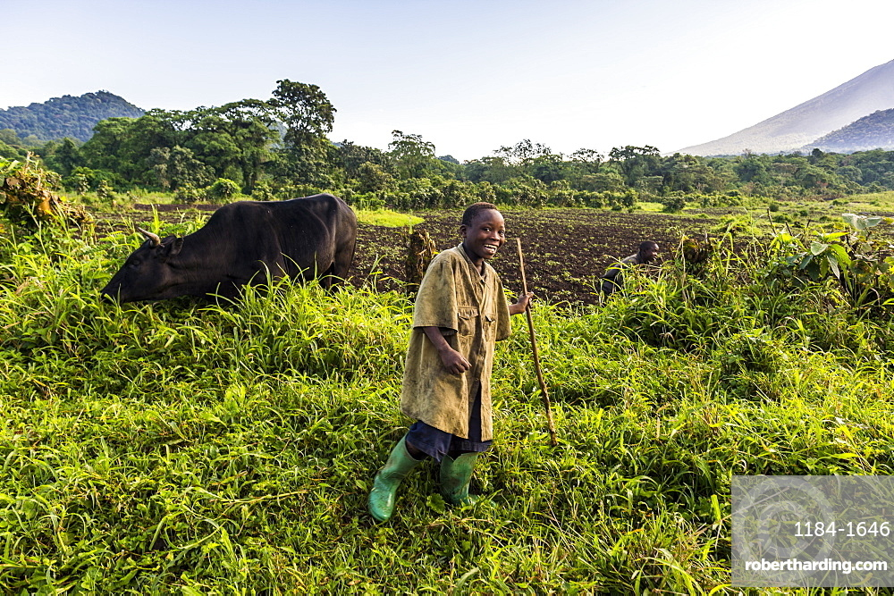 Happy young farming boy, Virunga National Park, Democratic Republic of the Congo, Africa