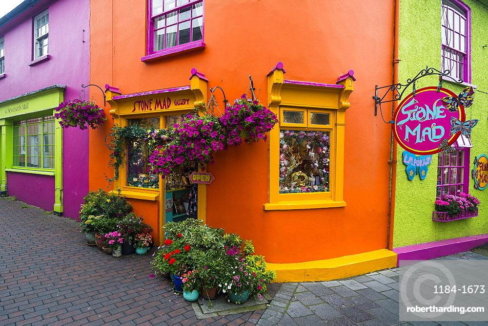 Brightly coloured shops in Kinsale, County Cork, Munster, Republic of Ireland, Europe