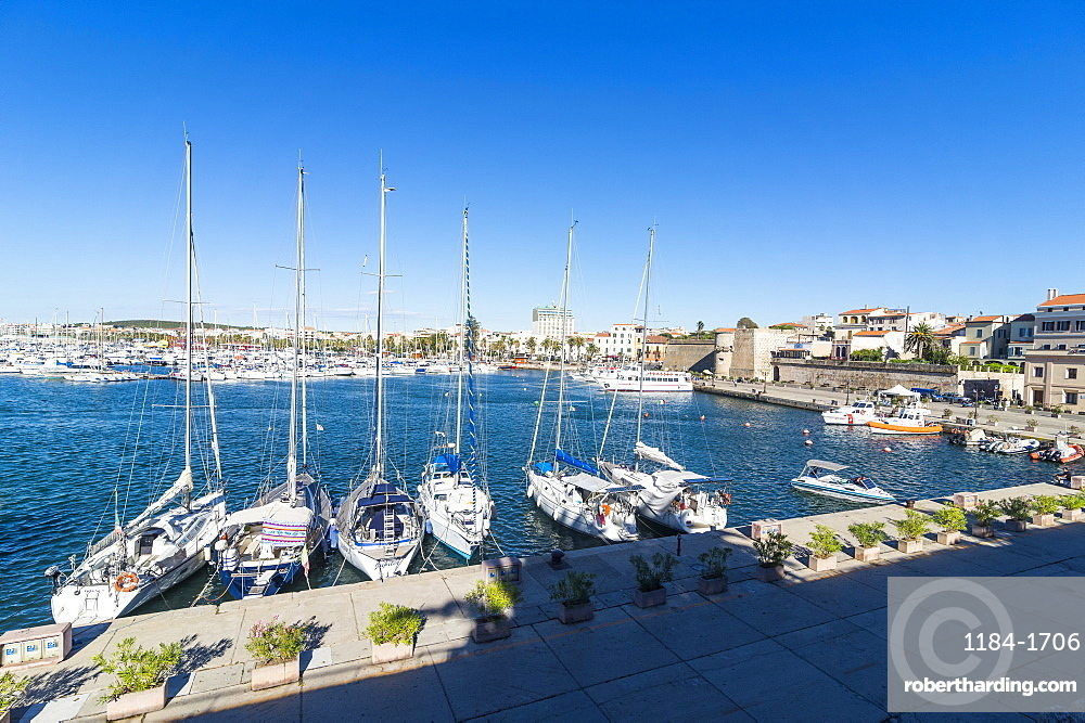 View over the boat harbour of the coastal town of Alghero, Sardinia, Italy, Mediterranean, Europe