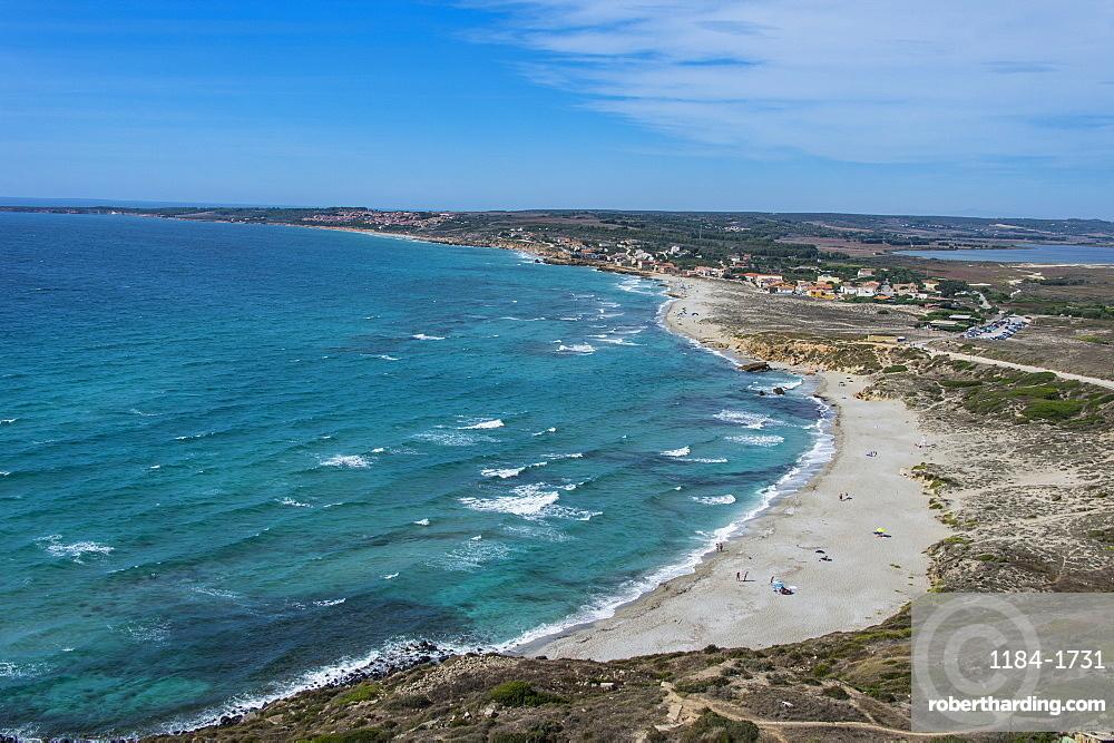 View over Cap San Marco beach, San Giovanni di Sinis, Sardinia, Italy, Mediterranean, Europe