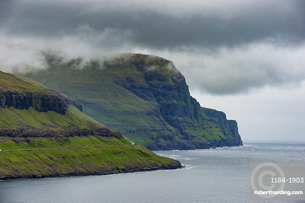 Steep cliffs in Gjogv, Streymoy, Faroe Islands, Denmark, Europe