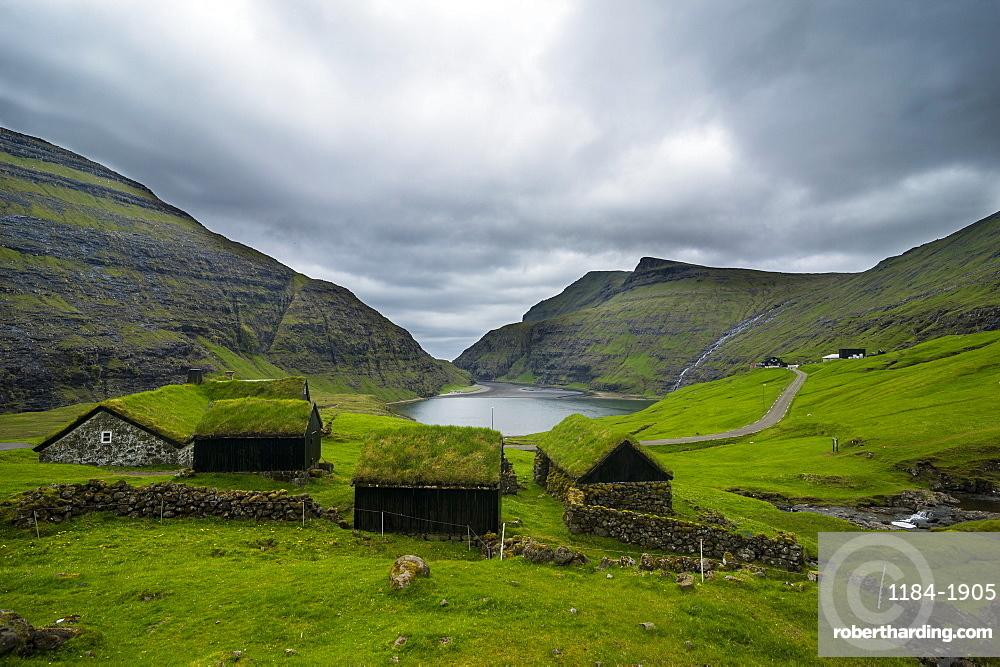 Museum of overgrown houses, Saksun, Streymoy, Faroe Islands, Denmark, Europe