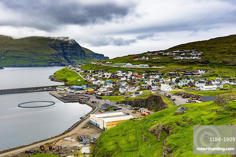 View over Eidi, Eysturoy, Faroe Islands, Denmark, Europe