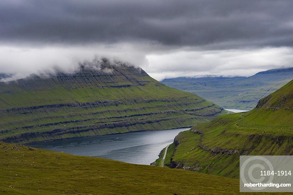 Fjordlandscape in Estuyroy, Faroe islands, Denmark