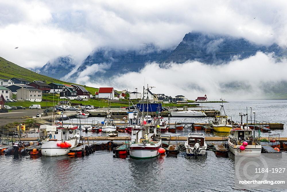 Boat harbour of Norddeble, Vidoy, Faroe Islands, Denmark, Europe