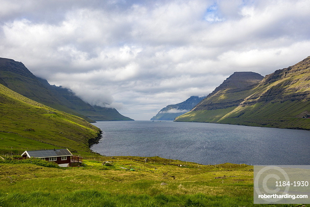 Huge fjord between Bordoy and Vidoy, Faroe Islands, Denmark, Europe