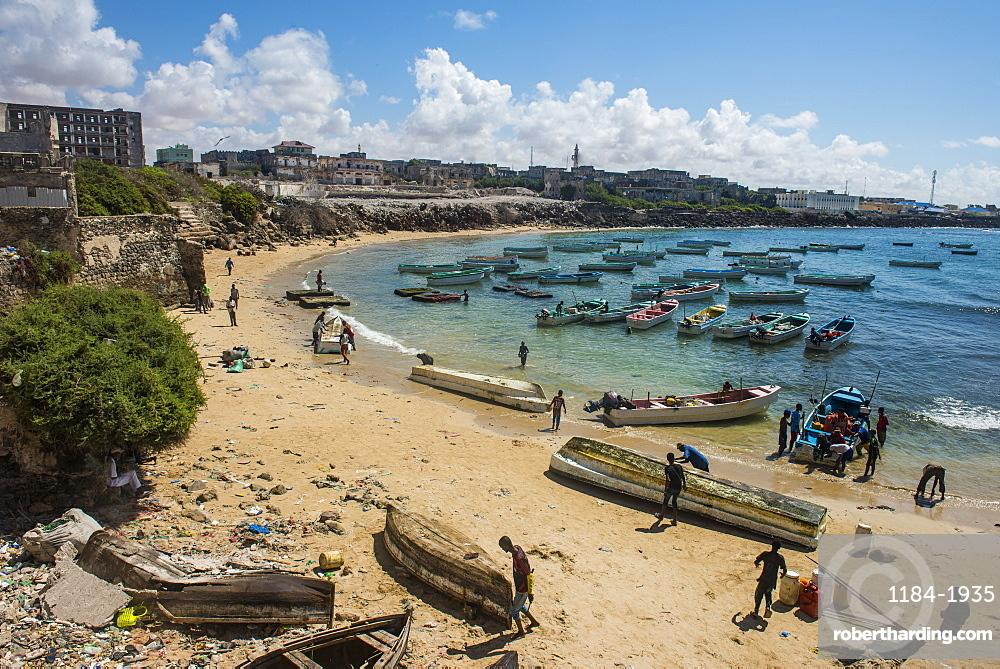 View over the old Italian harbour of Mogadishu, Somalia, Africa