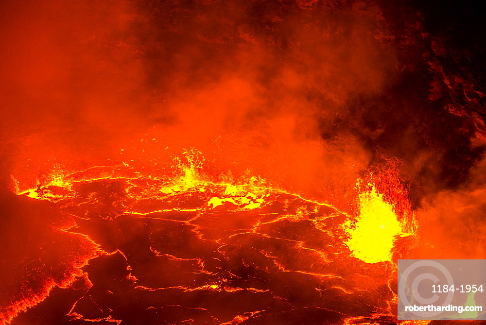 Very active lava lake of Erta Ale shield volcano, Danakil depression, Ethiopia, Africa