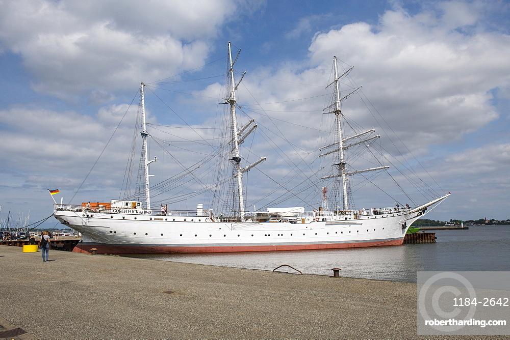 Gorch Fock German three-mast barque, the Hanseatic town of Stralsund, UNESCO World Heritage Site, Mecklenburg-Vorpommern, Germany, Europe