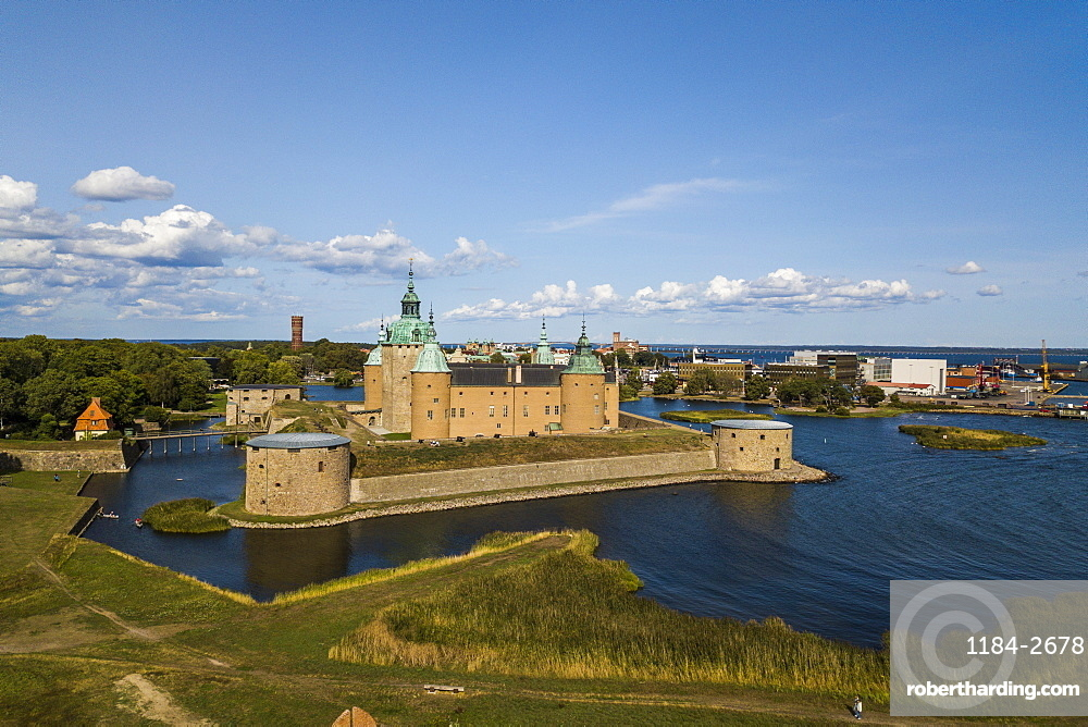 Aerial of Kalmar Castle, Kalmar, Sweden, Scandinavia, Europe