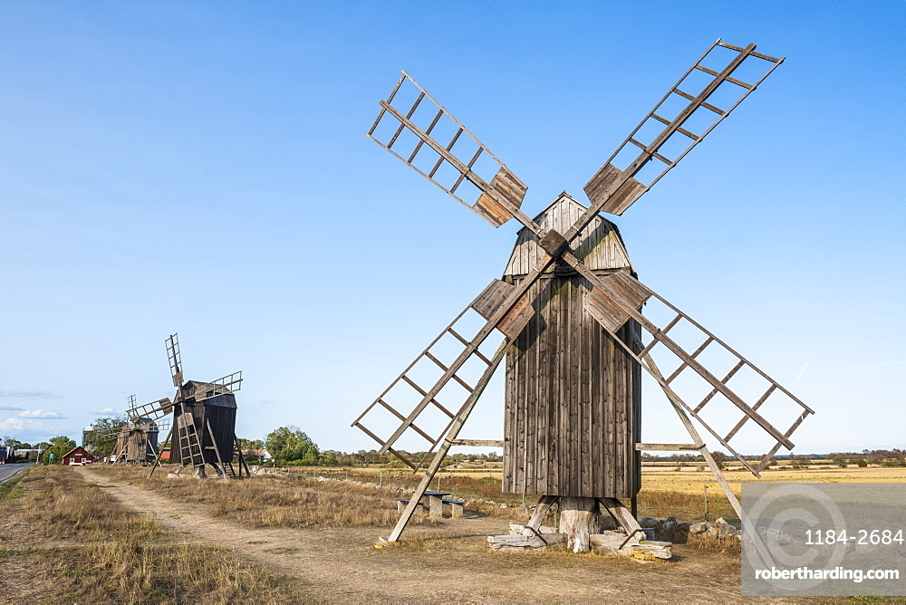 The windmills of Oland, UNESCO World Heritage Site, Sweden, Scandinavia, Europe