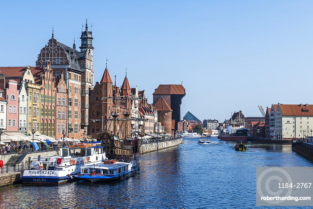 Hanseatic League houses on the Motlawa River, Gdansk. Poland, Europe