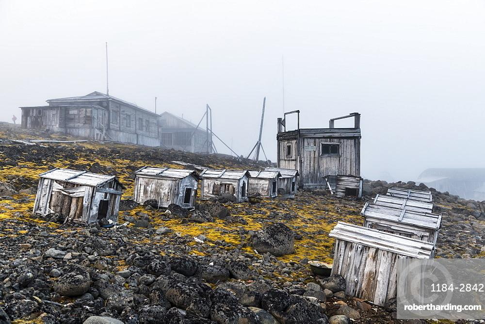 Polar huskies boxes in the historical meteorological station Sedov in Tikhaya Bay on Hooker island, Franz Josef Land archipelago, Arkhangelsk Oblast, Arctic, Russia, Europe
