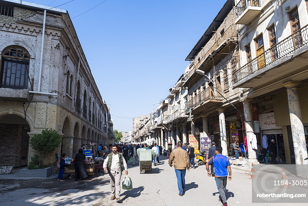 Historic colonial buildings, Al Rasheed Street, Baghdad, Iraq, Middle East