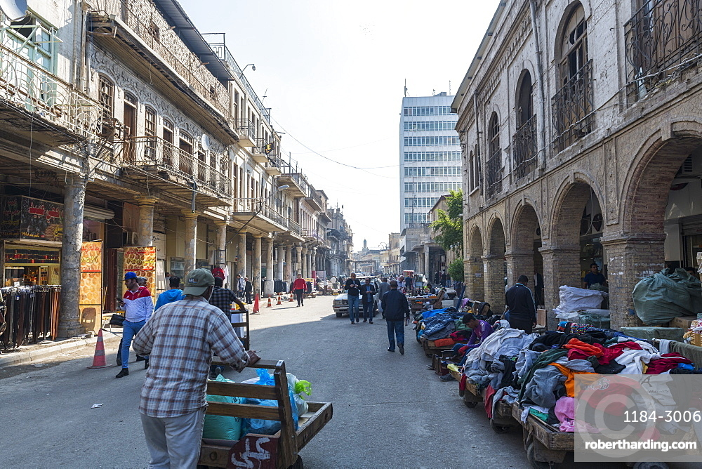 Historic colonial buildings, Al Rasheed Street, Baghdad, Iraq, Middle East